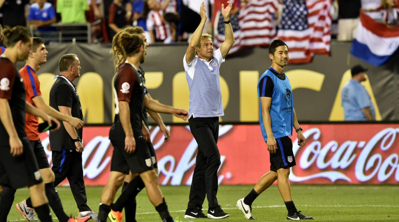 Jurgen Klinsmann celebrates the USA's win over Paraguay at Copa America