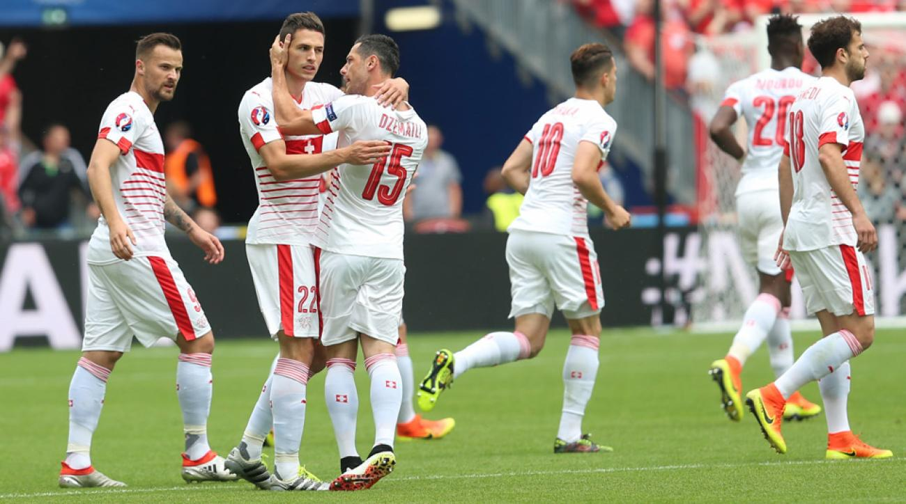 Albania Vs Switzerland Schar Scores Early Cana Sent Off