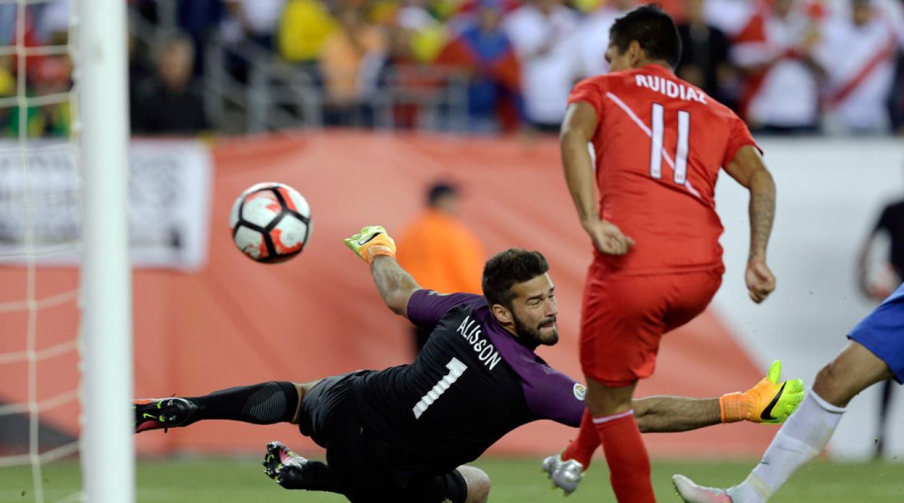 Peru's Raul Ruidaiz scores on Brazil using his arm in Copa America