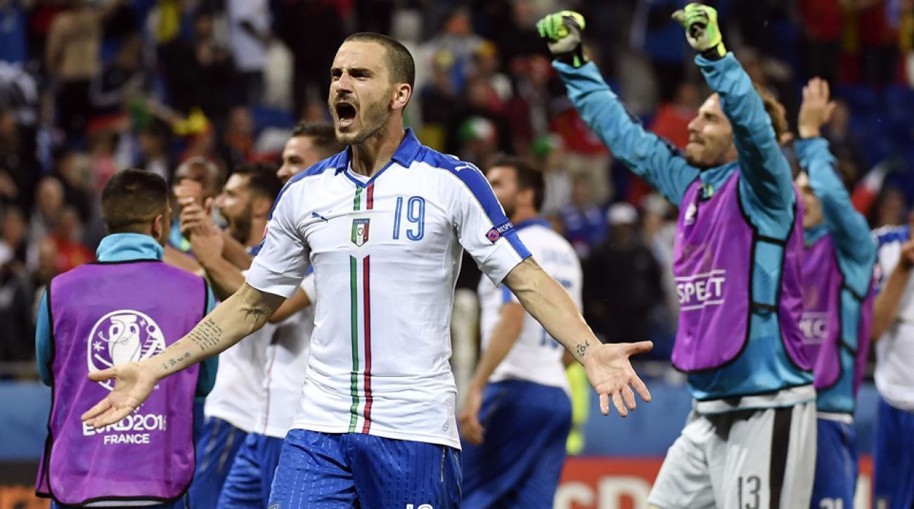 Leonardo Bonucci celebrates Italy's win over Belgium at Euro 2016