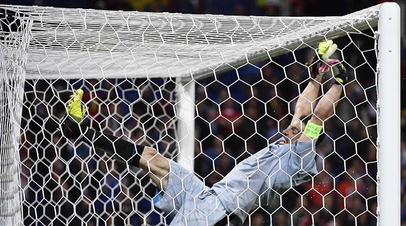gianluigi buffon italy goalkeeper celebration fail video