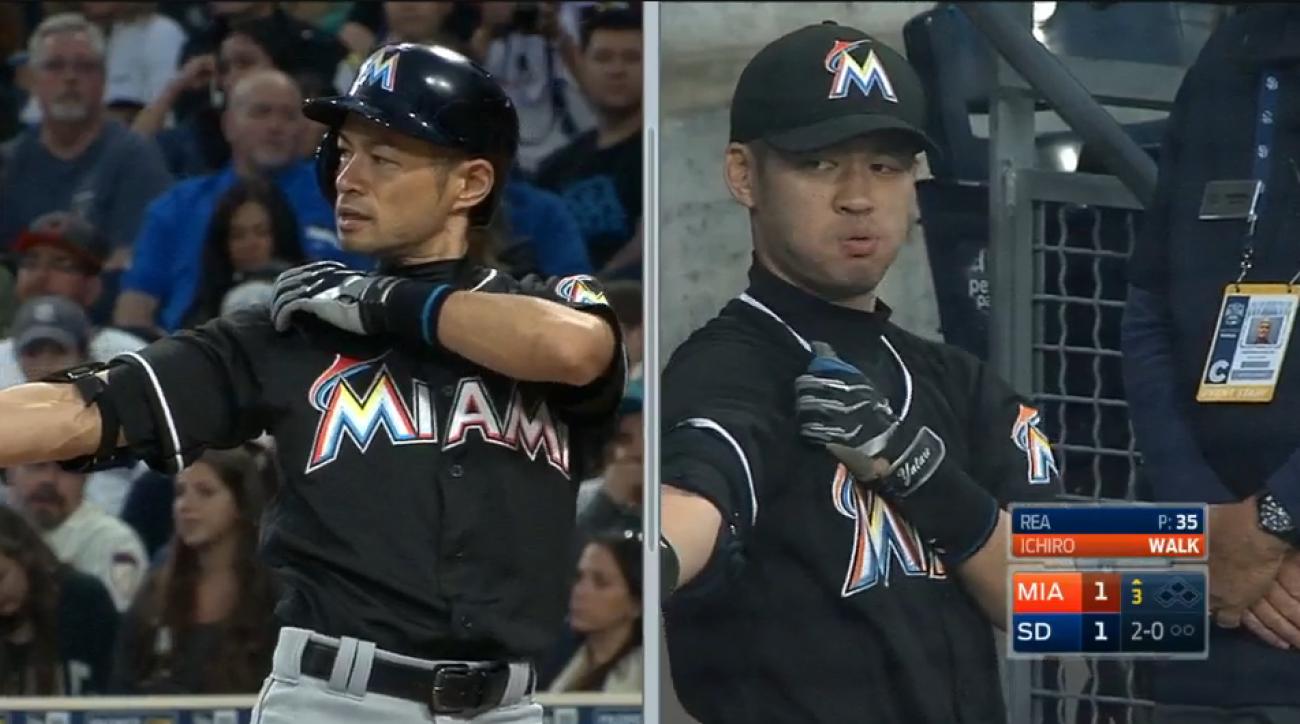 ichiro suzuki doppleganger fan marlins video