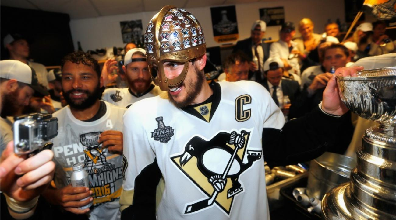 Pittsburgh Penguins put a camera on a champagne bottle after they won the Stanley Cup