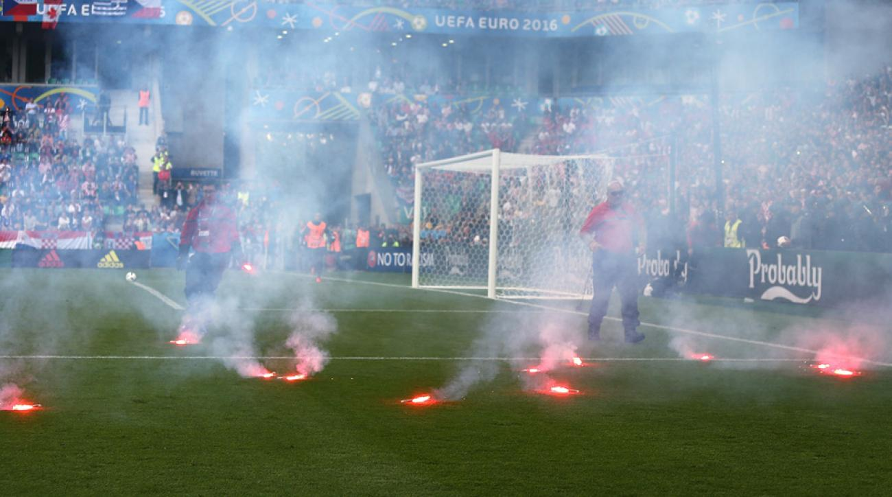 Croatia fans threw flares on the field at Euro 2016