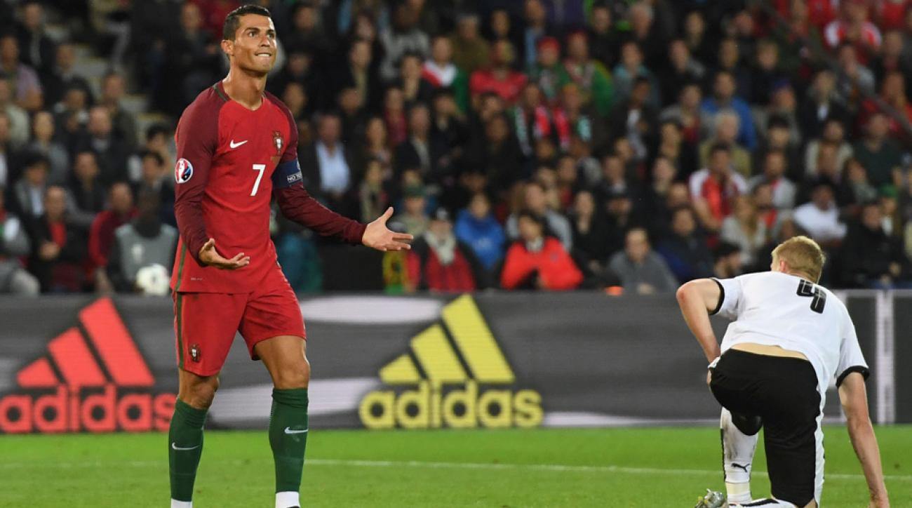 Cristiano Ronaldo misses a penalty kick for Portugal at Euro 2016