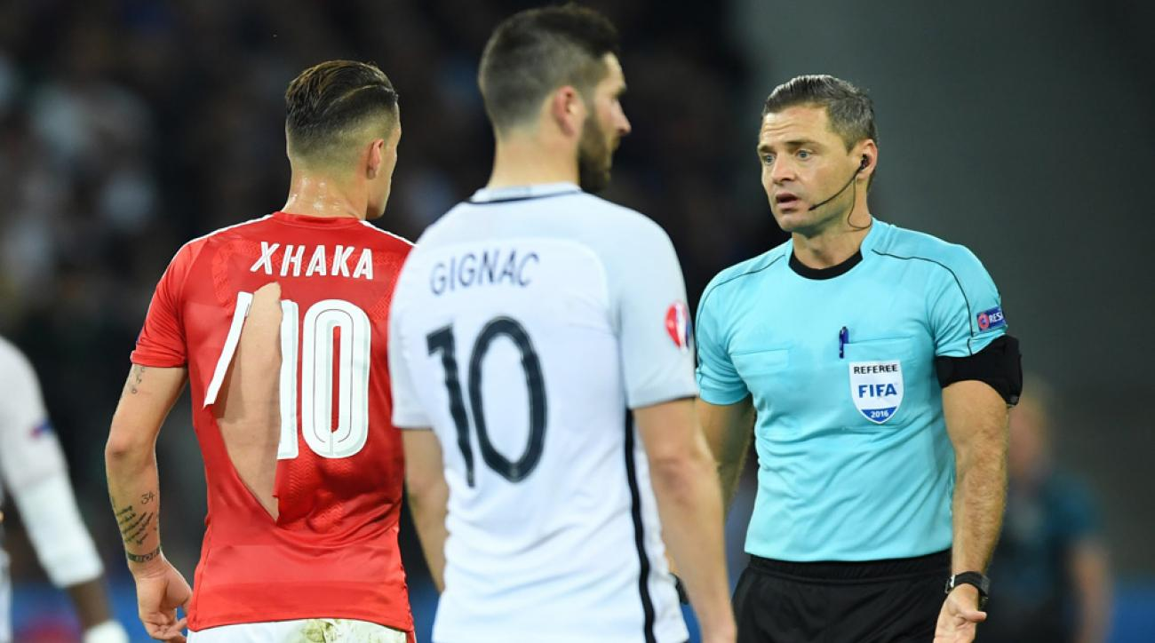 Four Switzerland jerseys ripped in a Euro 2016 match vs. France