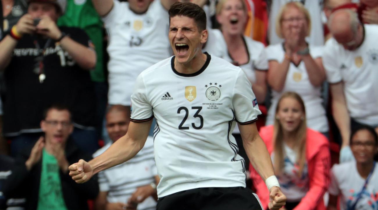 Mario Gomez scores for Germany vs. Northern Ireland at Euro 2016