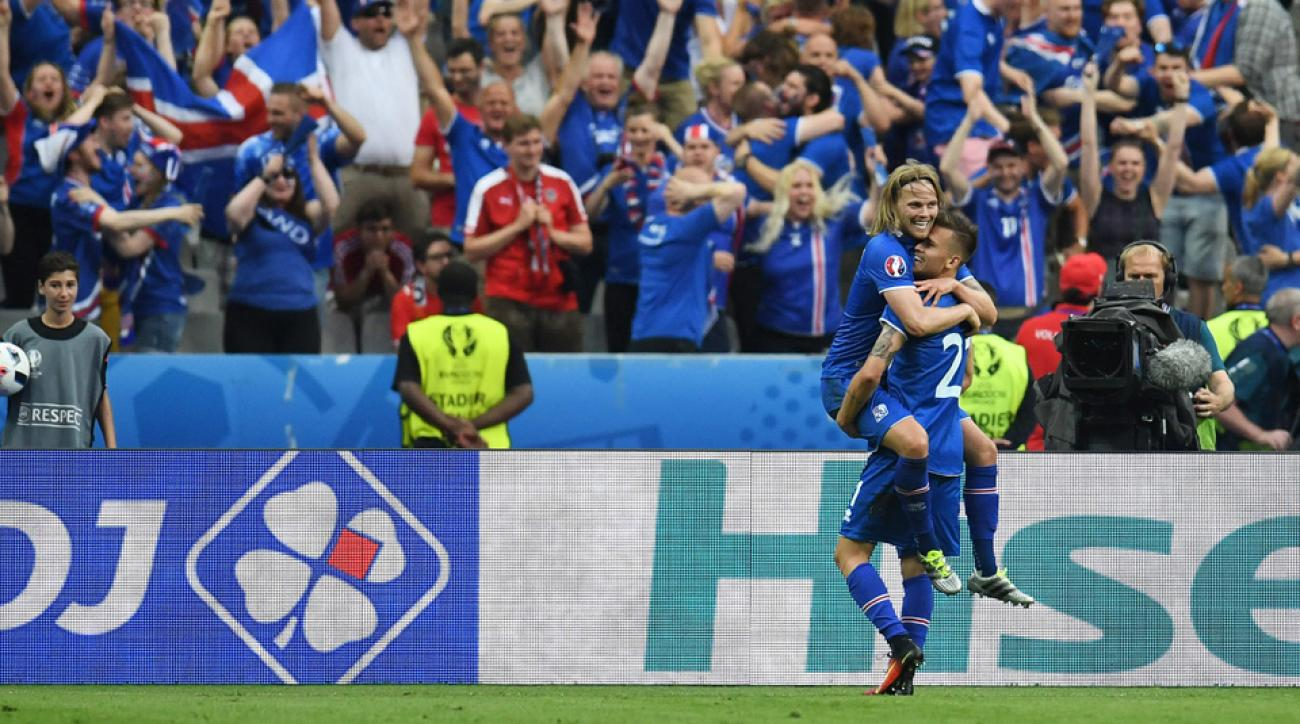 Iceland celebrates its game-winning goal vs. Austria