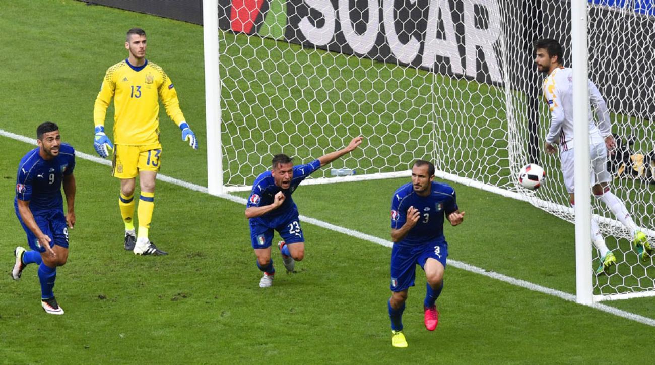 Giorgio Chiellini scores for Italy against Spain at Euro 2016