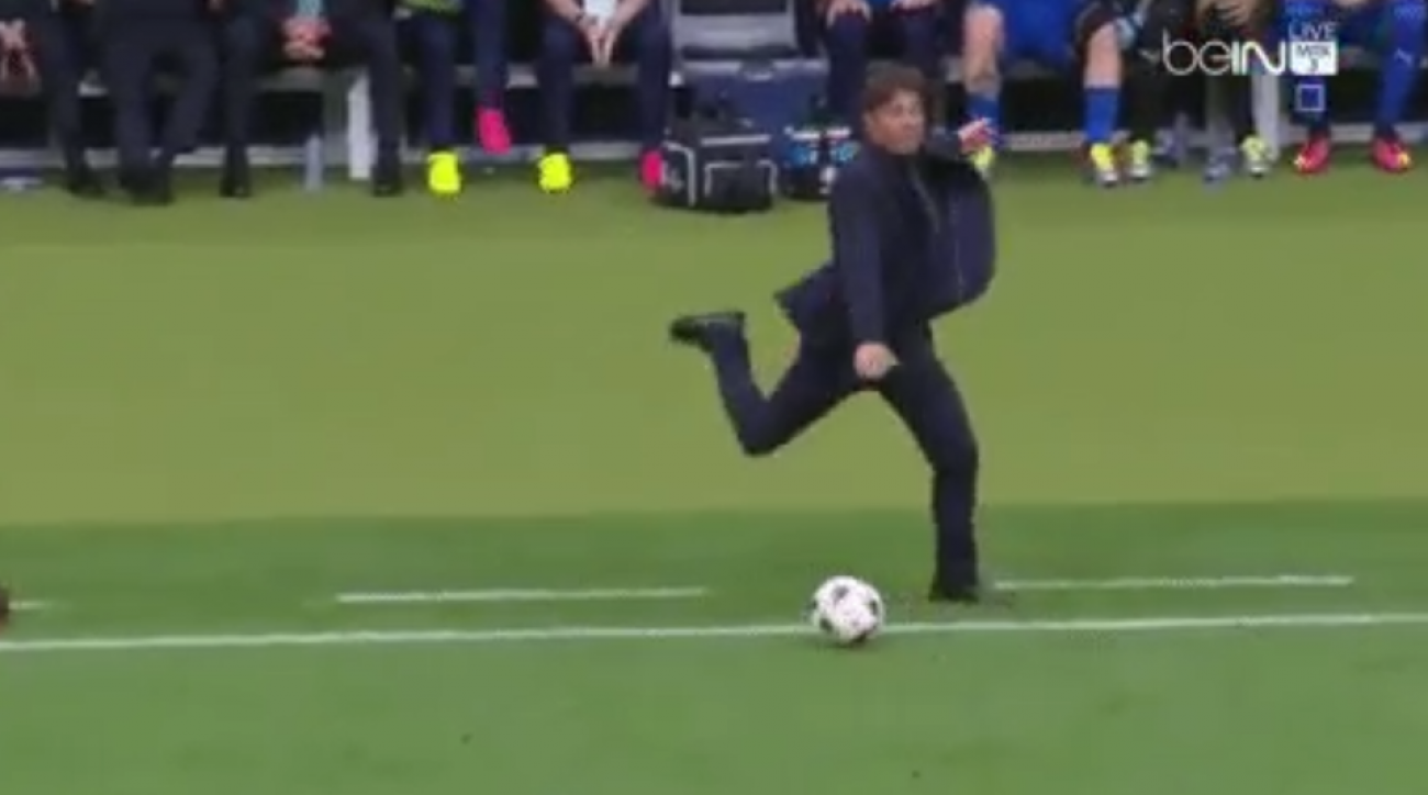 conte kicks soccer ball euro 2016