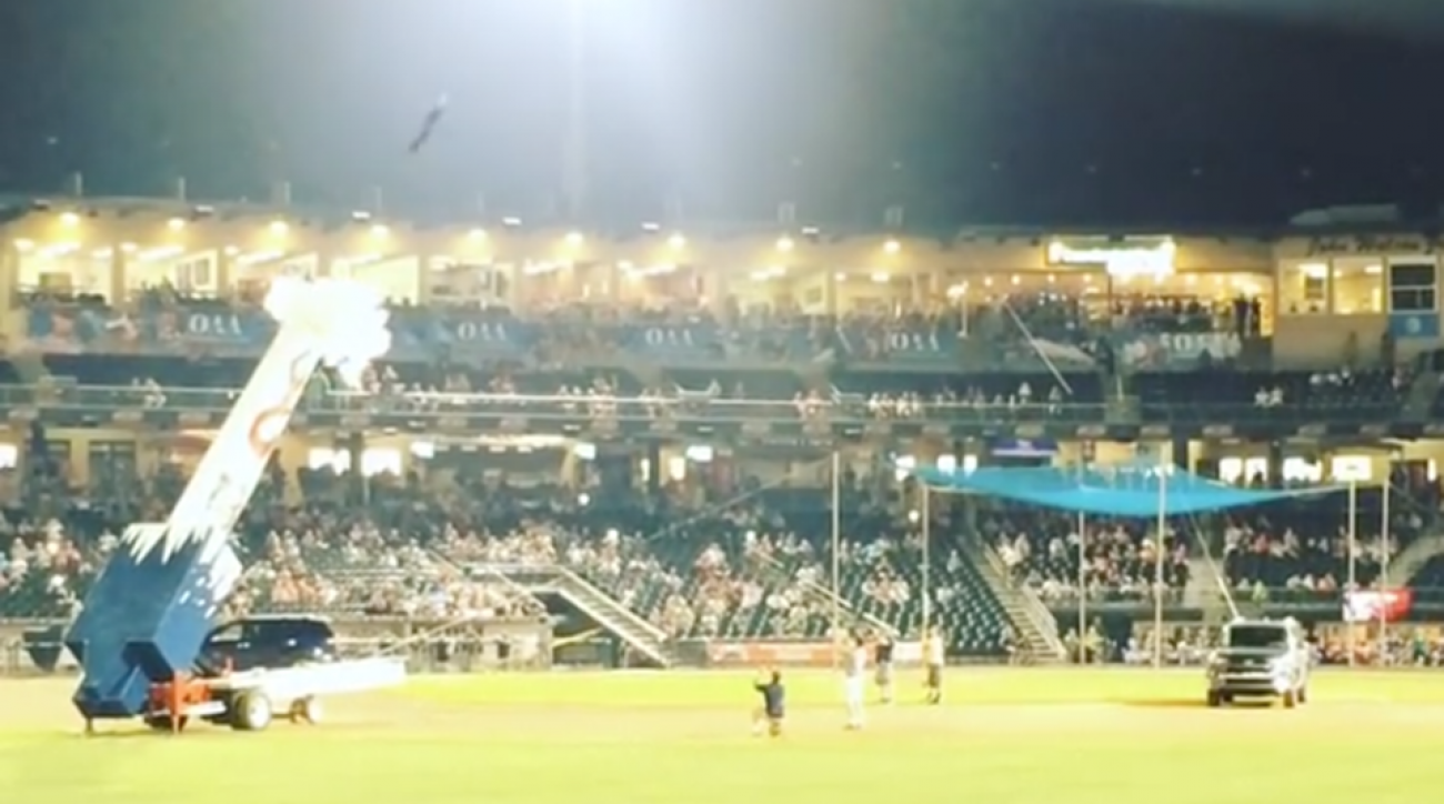 lehigh valley iron pigs human cannonball video