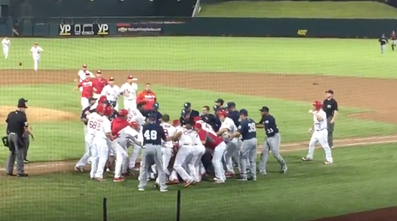 memphis redbirds new orleans zephyrs minor league baseball brawl video