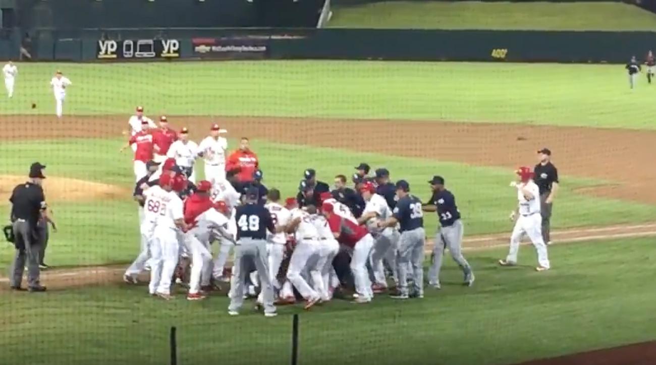 memphis redbirds new orleans zephyrs minor league baseball brawl video