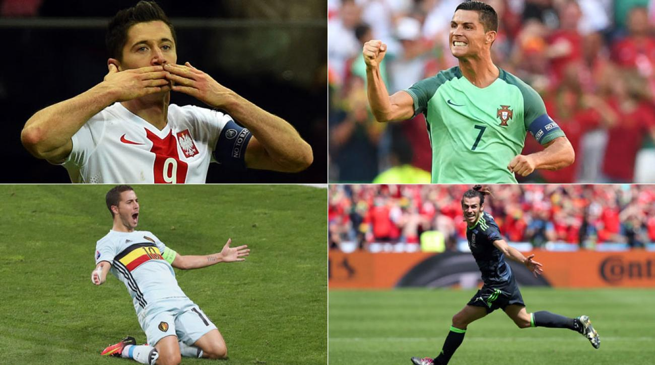 Robert Lewandowski, Cristiano Ronaldo, Eden Hazard and Gareth Bale lead their teams in the Euro 2016 quarterfinals