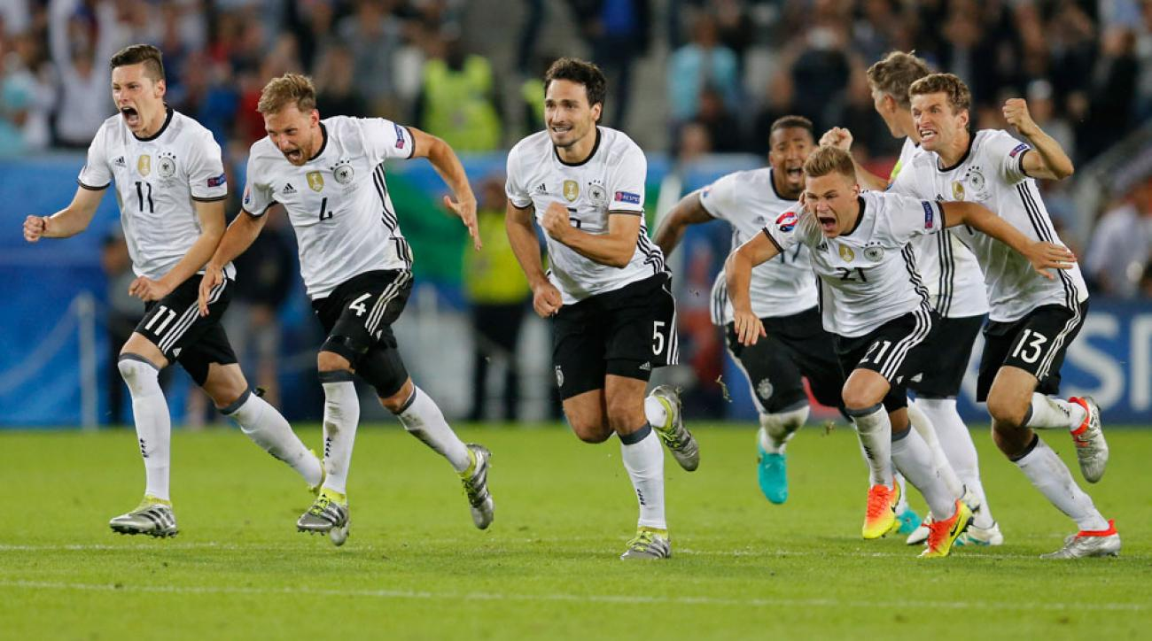Germany celebrates its penalty shootout win against Italy in the Euro 2016 quarterfinals