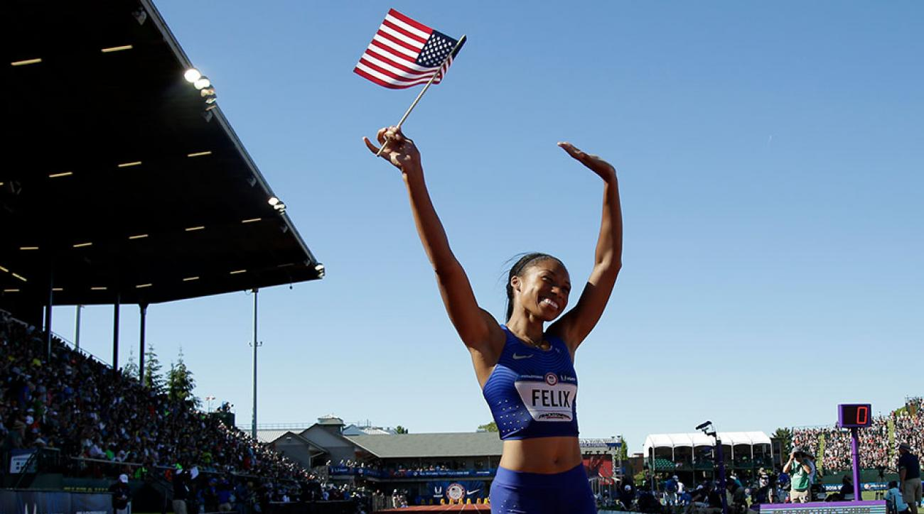 us track and field olympic trials justin gatlin allyson felix
