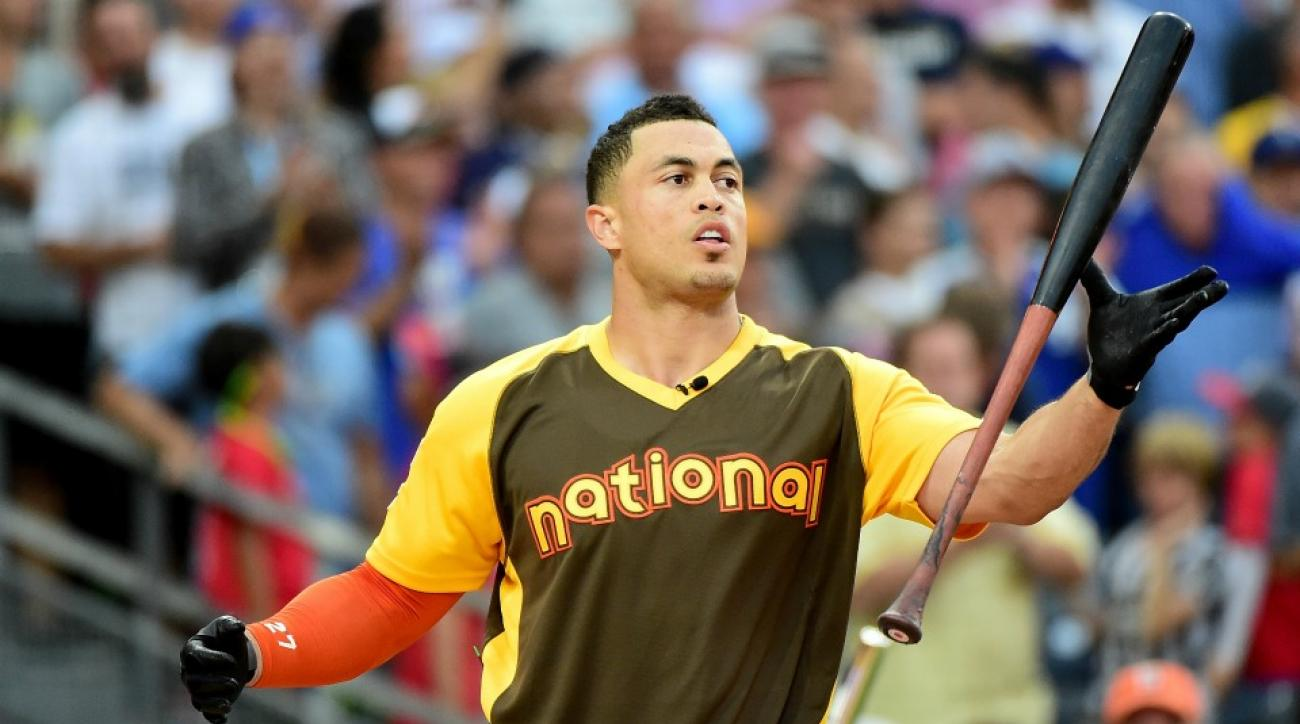A young fan took a big hit in the home run derby outfield