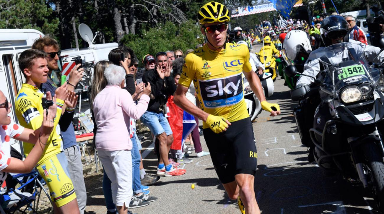 chris froome running tour de france video bike crash stage 12