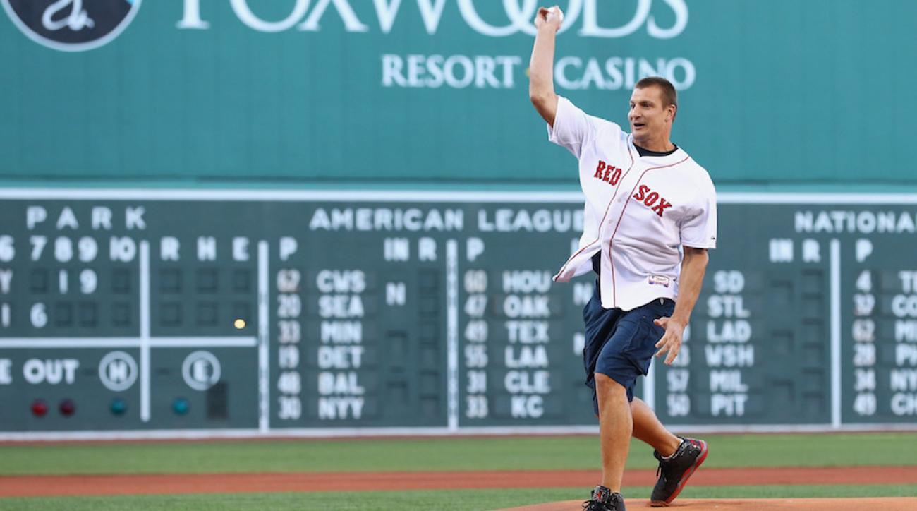 rob gronkowski first pitch red sox david ortiz