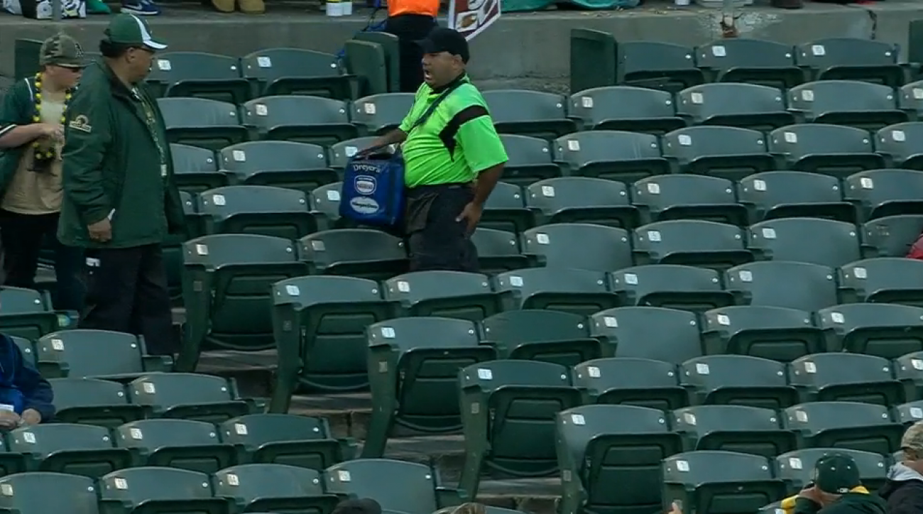 oakland athletics vendor butt foul ball video