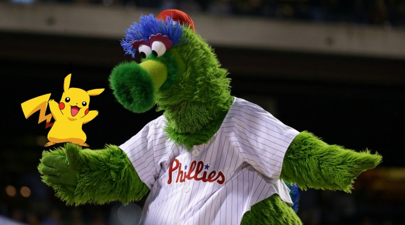 Philadelphia Phillies mascot plays live action pokemon go on the field