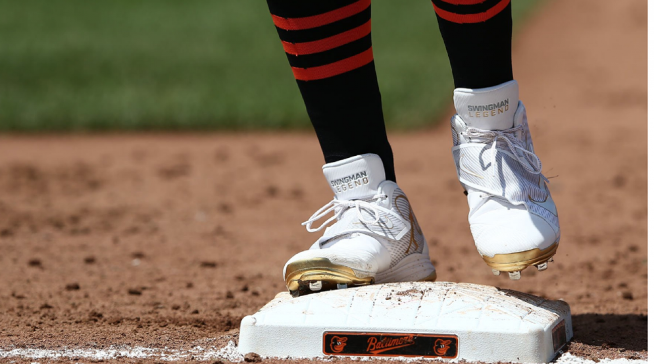 "Adam Jones of the Orioles sports the ""Swingman Legend"" cleats during Sunday's game against the Indians"