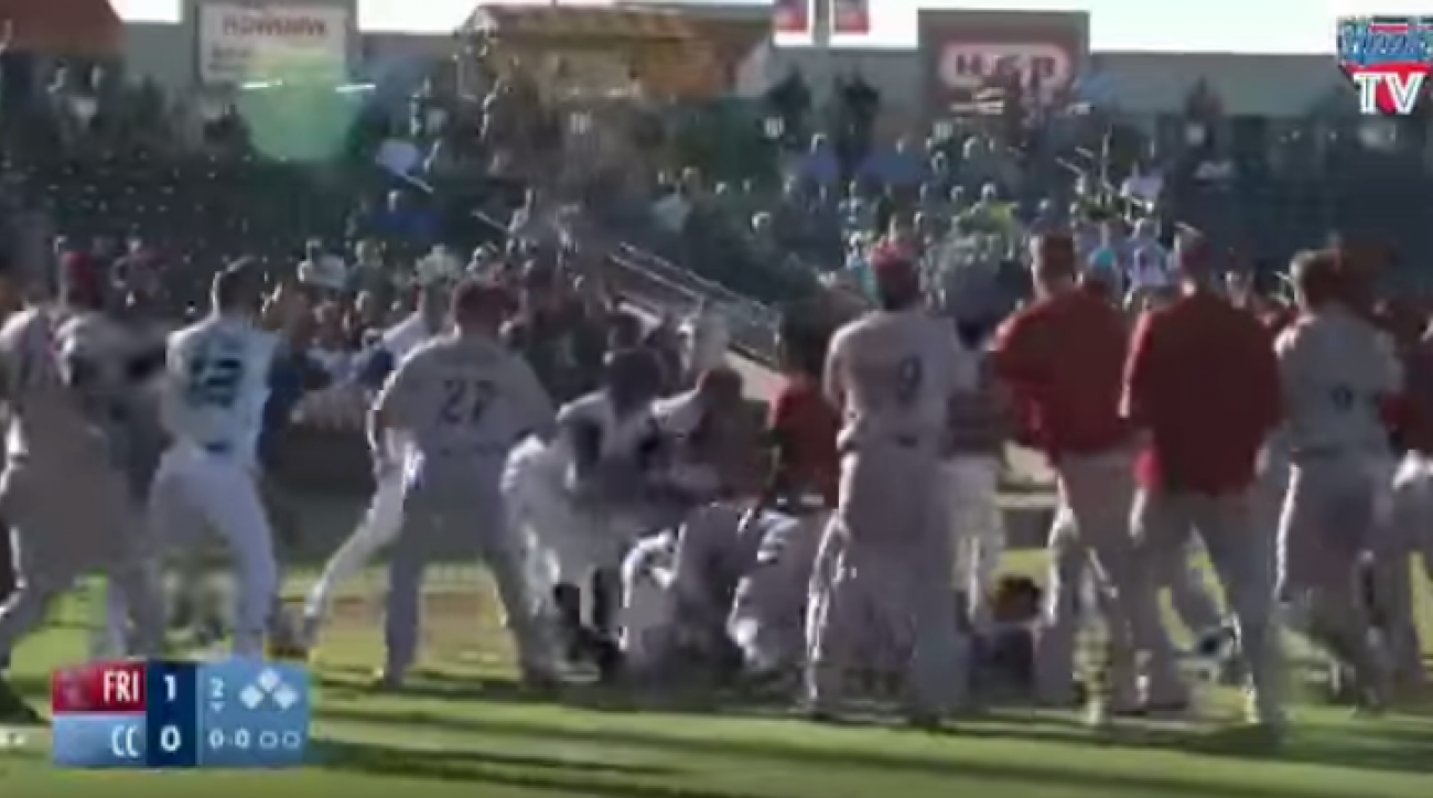 minor league baseball brawl video roughriders hooks
