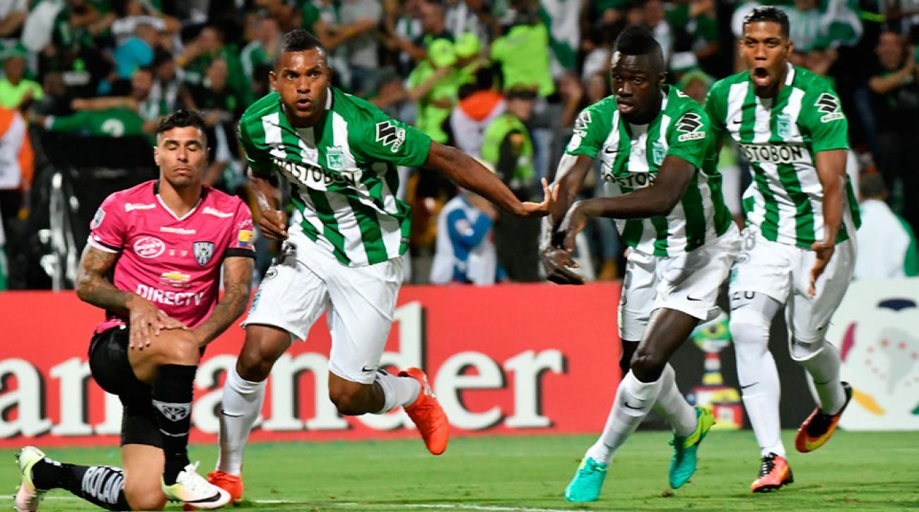Miguel Borja celebrates for Atletico Nacional in the Copa Libertadores final