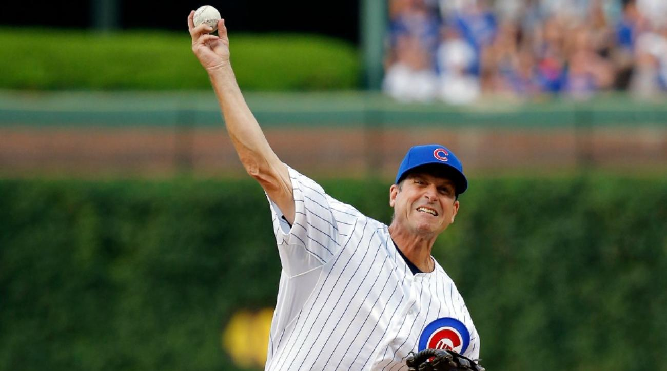 Michigan's Jim Harbaugh throws out Cubs first pitch