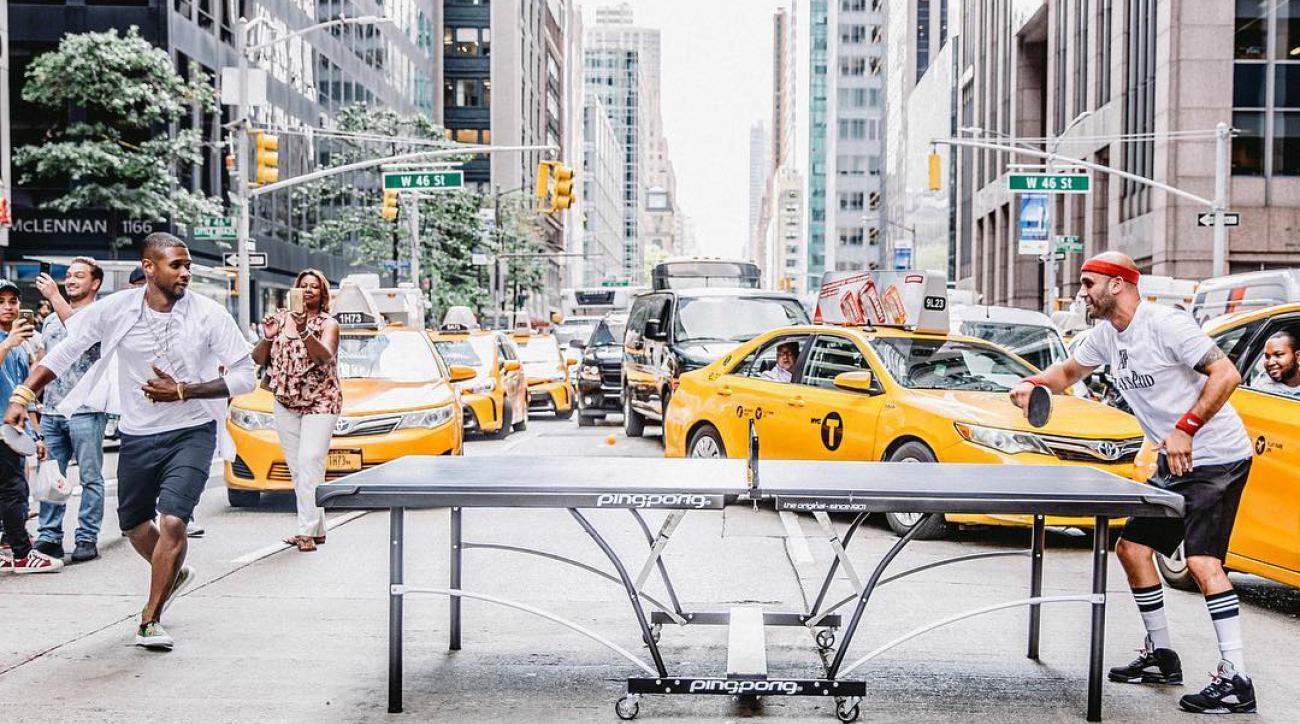 usher ping pong new york sixth avenue video