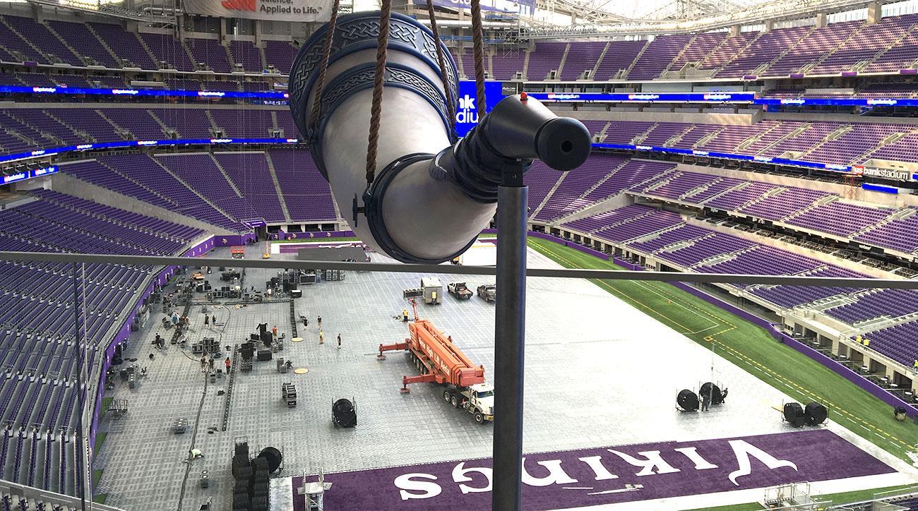 The Gjallarhorn looms over the Minnesota Vikings' new stadium.