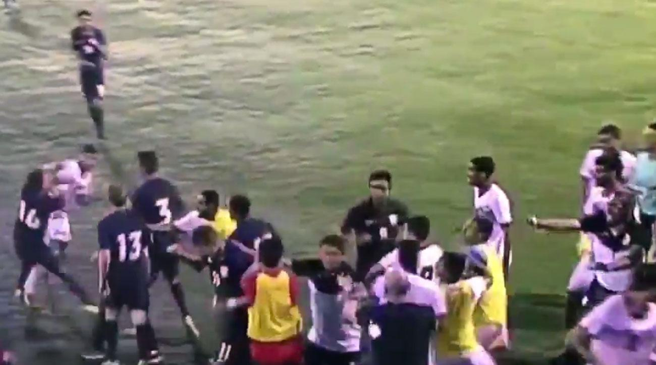 USA U-19s engage in a brawl vs. Bahrain at the end of their match