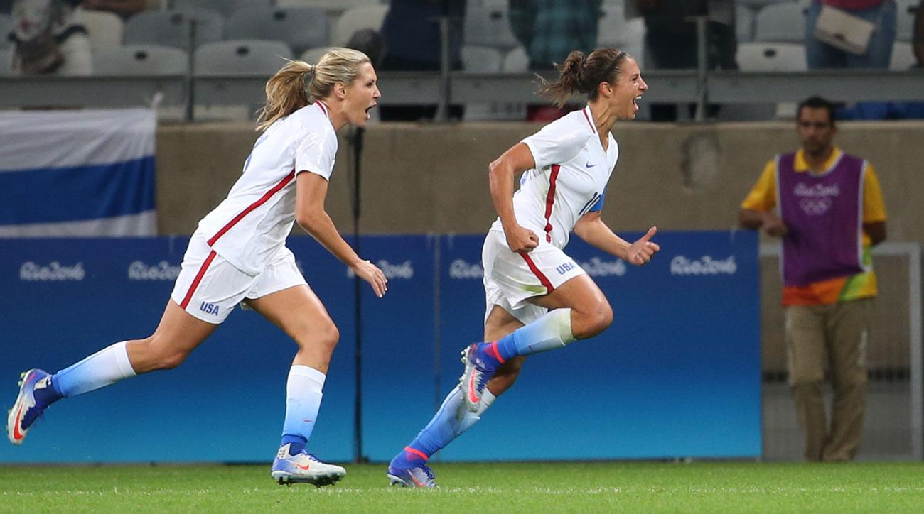 Carli Lloyd scores for the USA vs. New Zealand in the Olympics