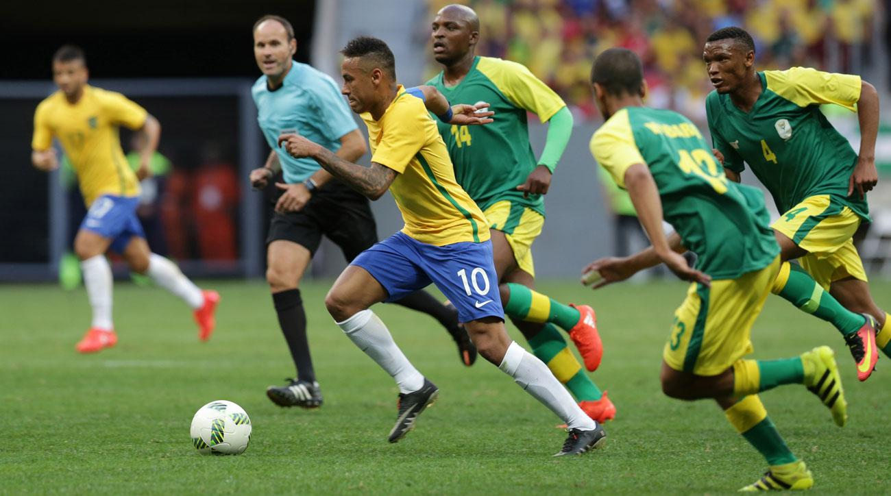 Neymar and Brazil were held by South Africa in their Olympics opener