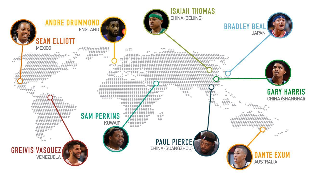 NBA international map