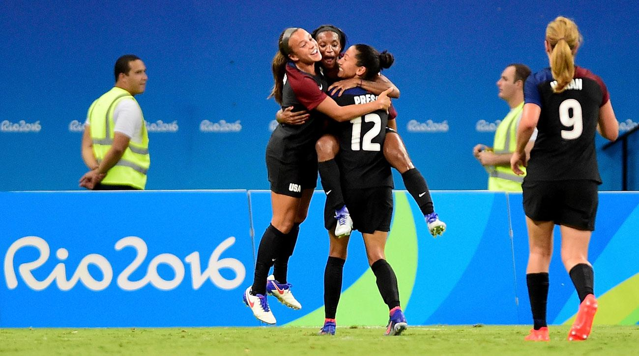 Crystal Dunn and Mallory Pugh score for the USA vs. Colombia at the Olympics