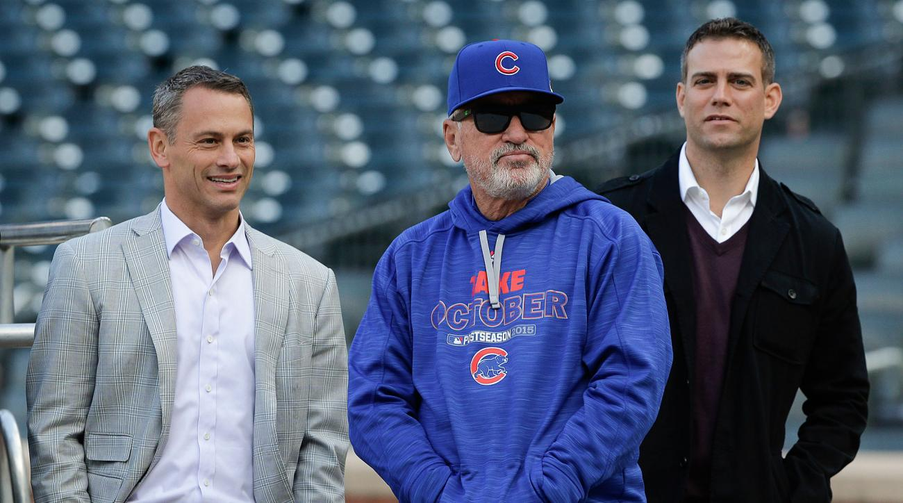 The Cubs' brain trust: GM Jed Hoyer, manager Joe Maddon and team president Theo Epstein.
