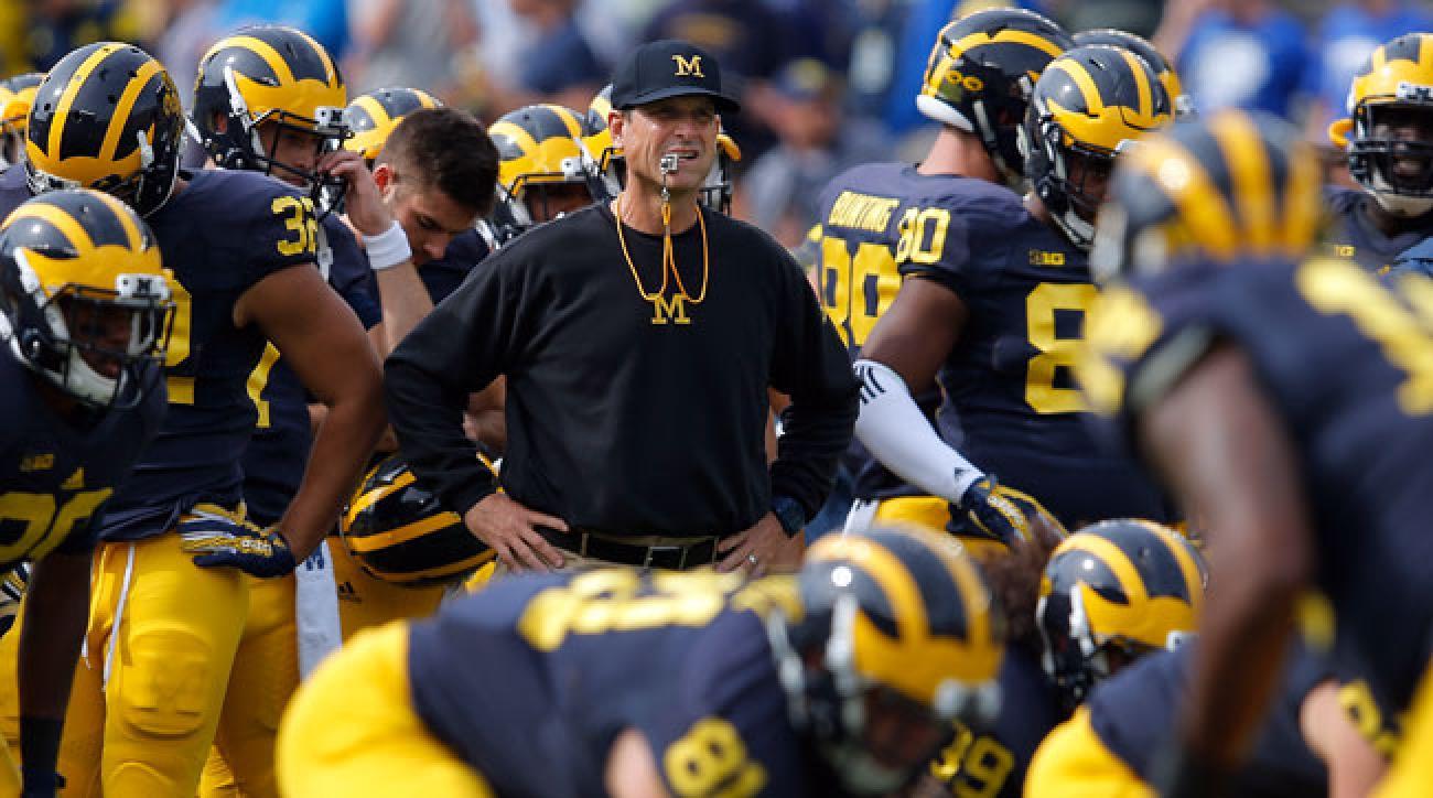 Michigan Wolverines football coach Jim Harbaugh.