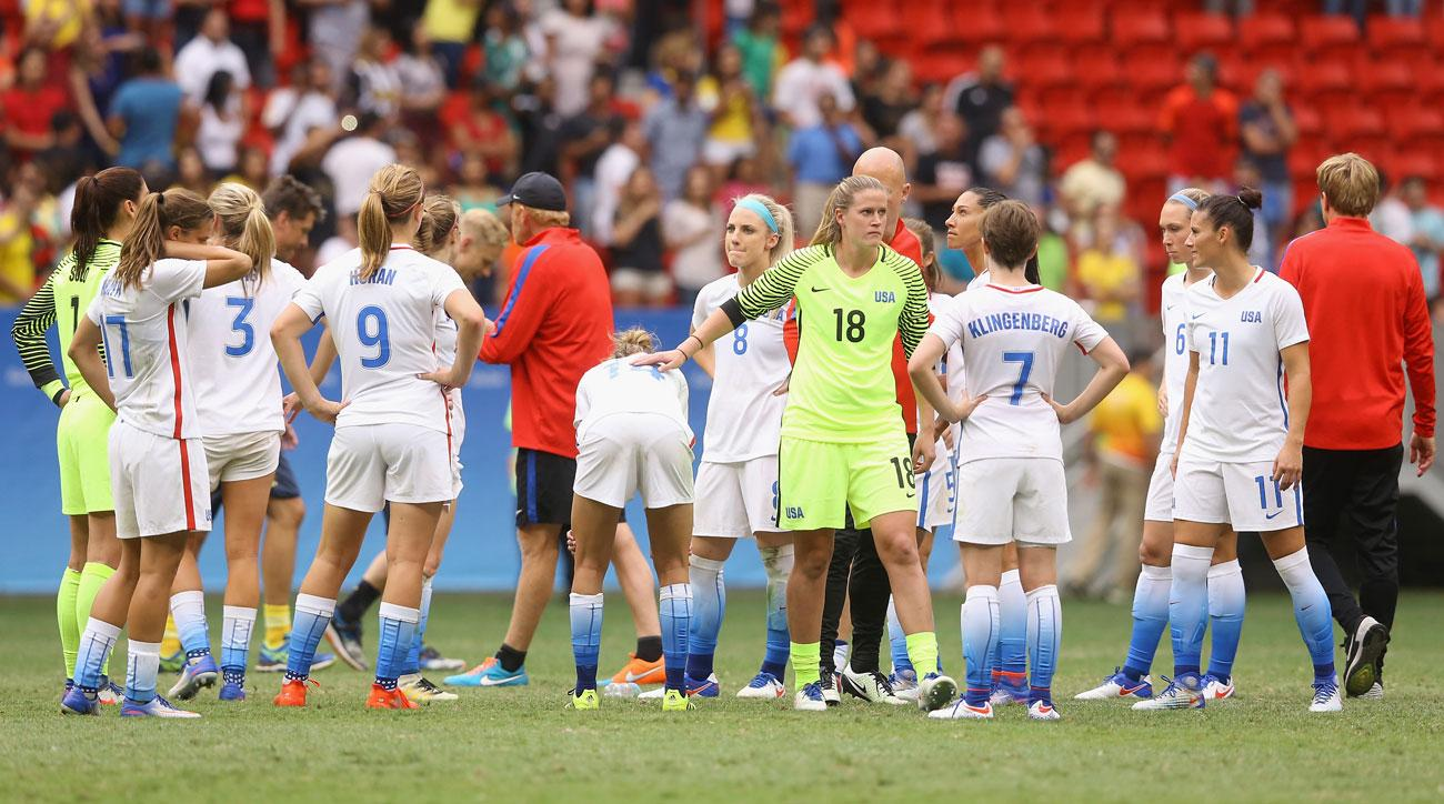 U.S. women's national team reacts after losing to Sweden in the Olympics quarterfinals