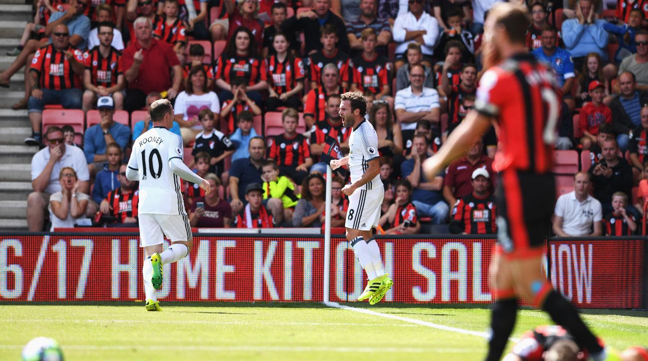 Juan Mata scores for Manchester United vs. Bournemouth