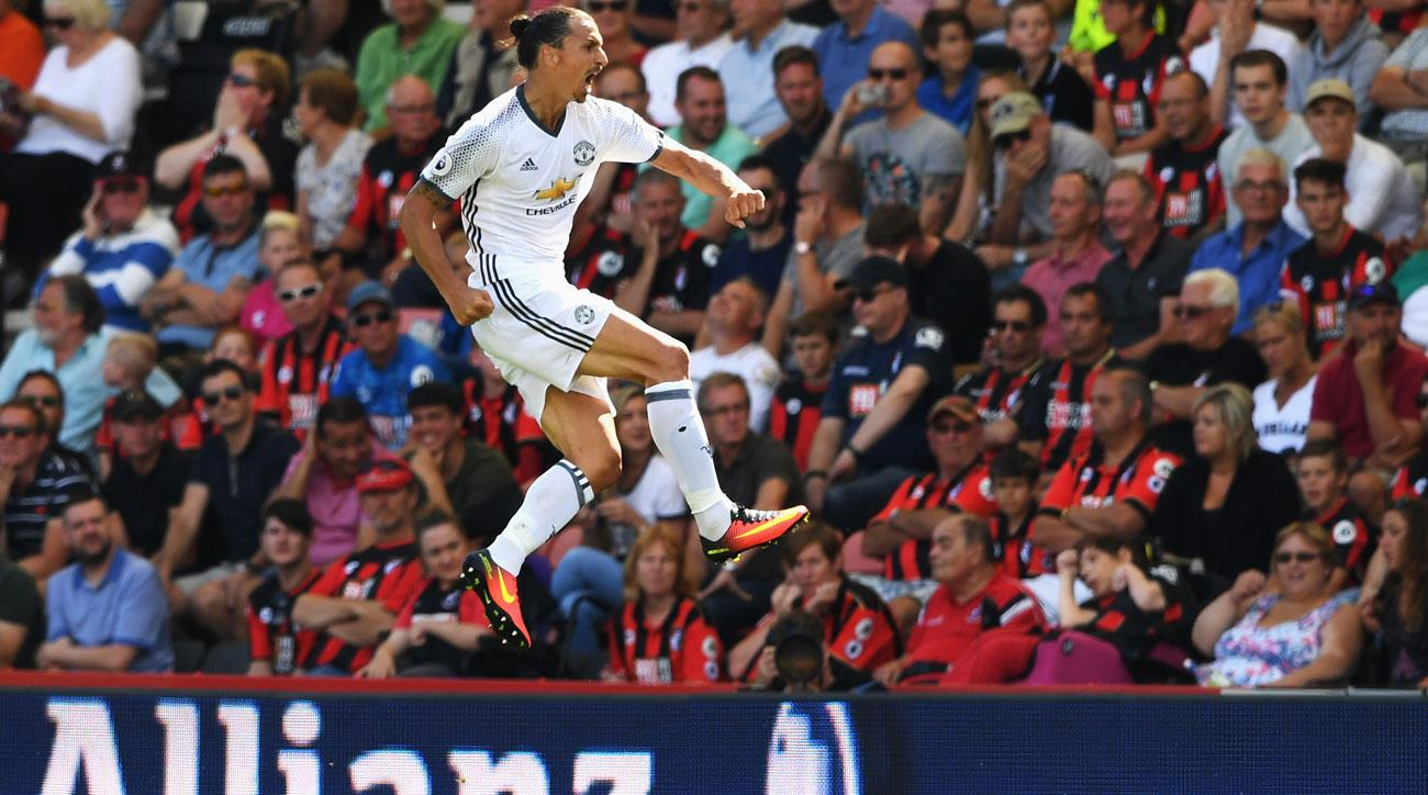 Zlatan Ibrahimovic scores for Manchester United against Bournemouth