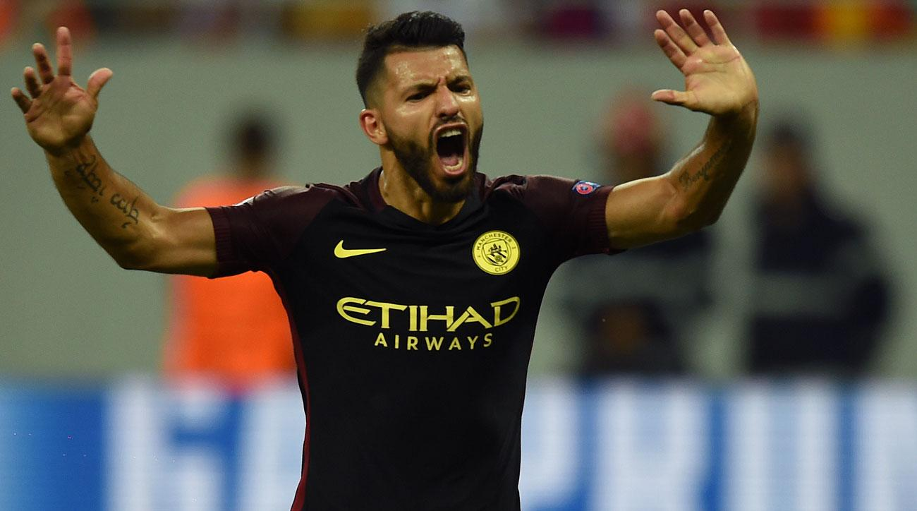 Sergio Aguero misses a pair of penalties for Manchester City in its Champions League playoff