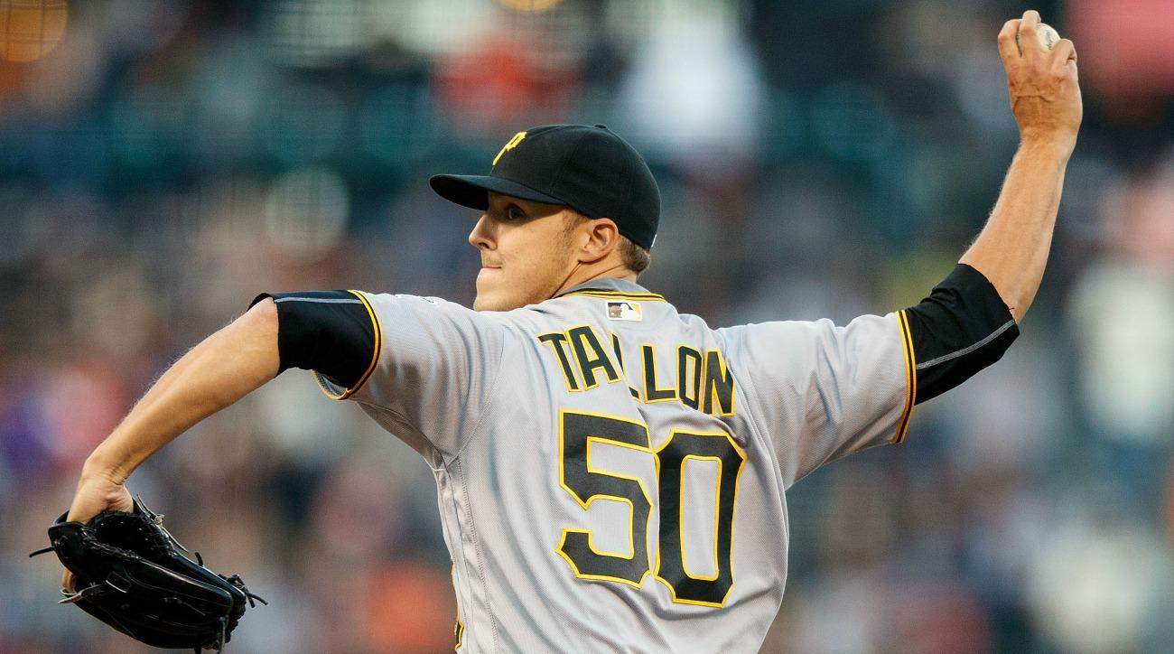 Pittsburgh Pirates' Jameson Taillon struggled with his jackets zipper