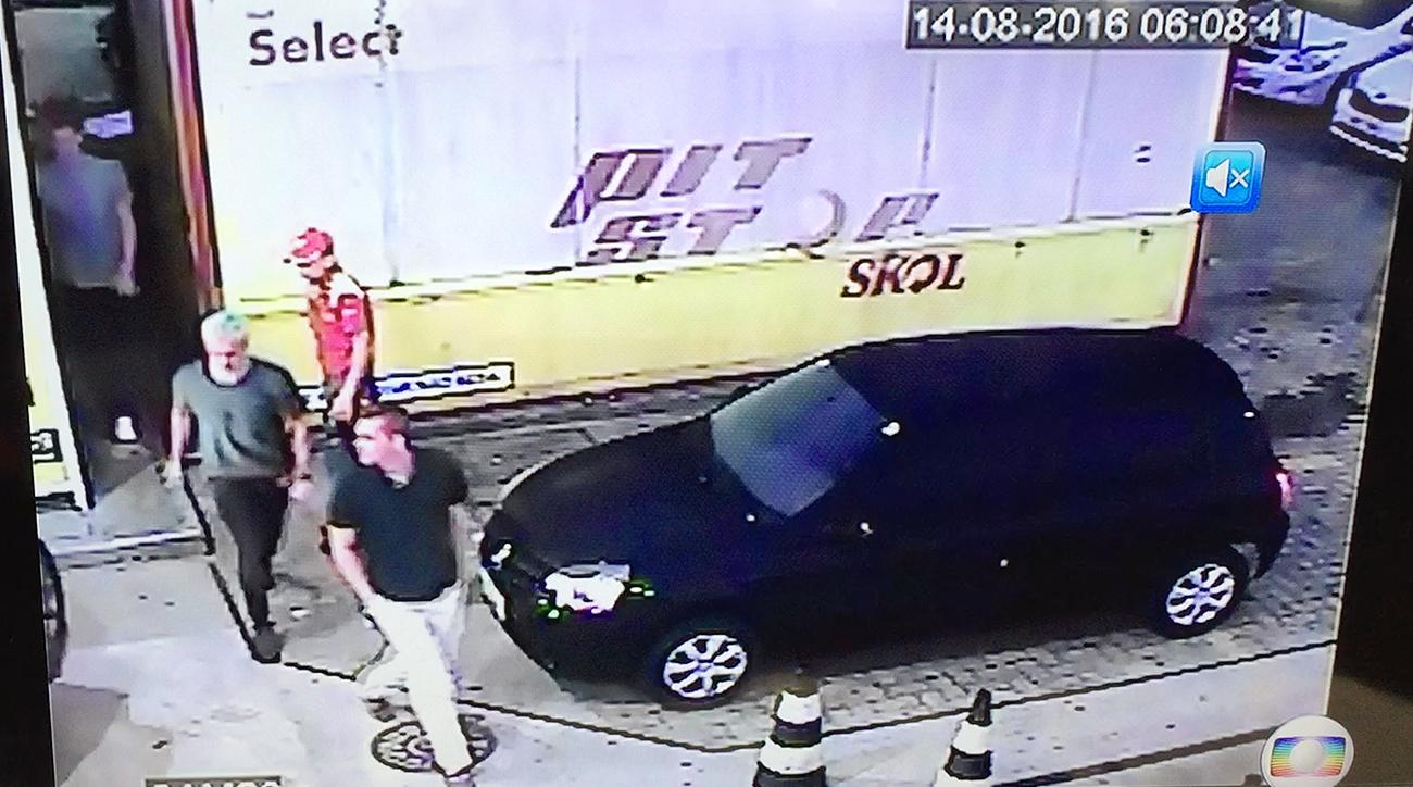Ryan Lochte gas station security footage Rio Olympics