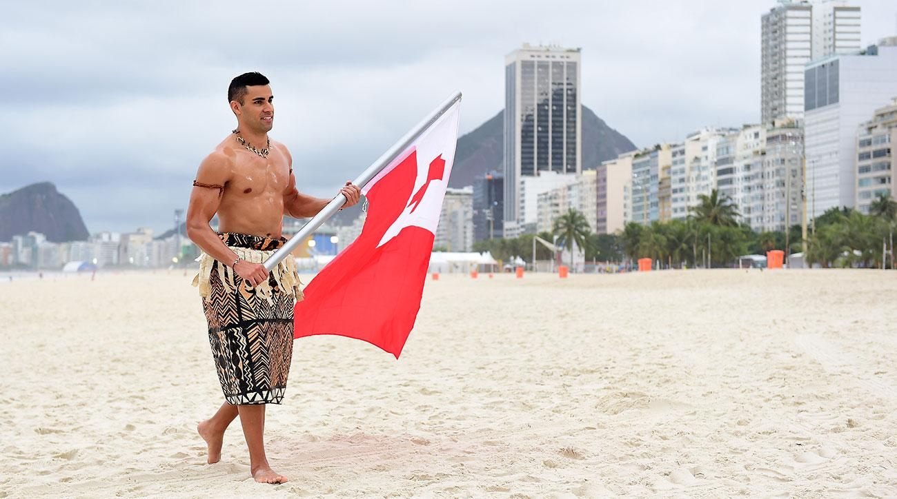 rio olympics pita taufatofua taekwondo tonga flag bearer
