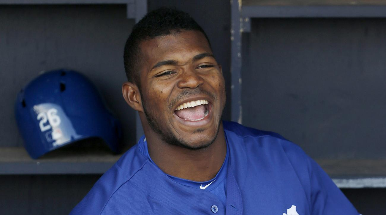yasiel puig coaching first base