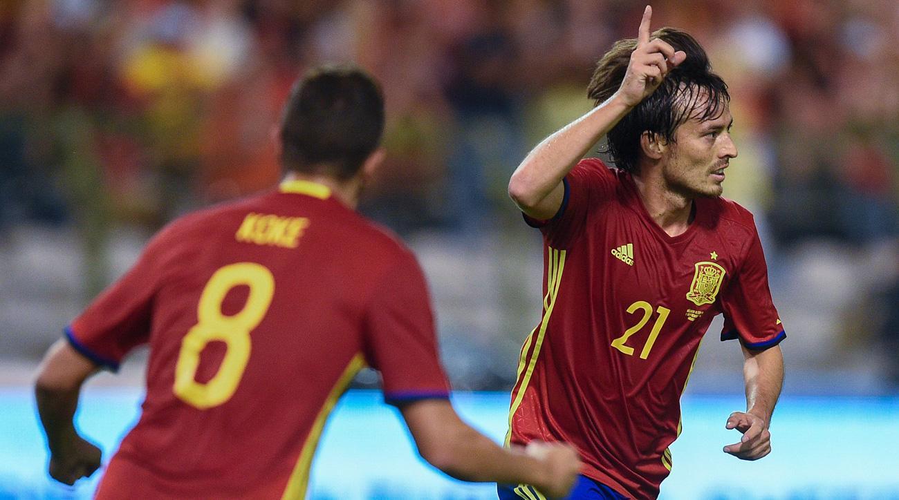 David Silva scores for Spain against Belgium