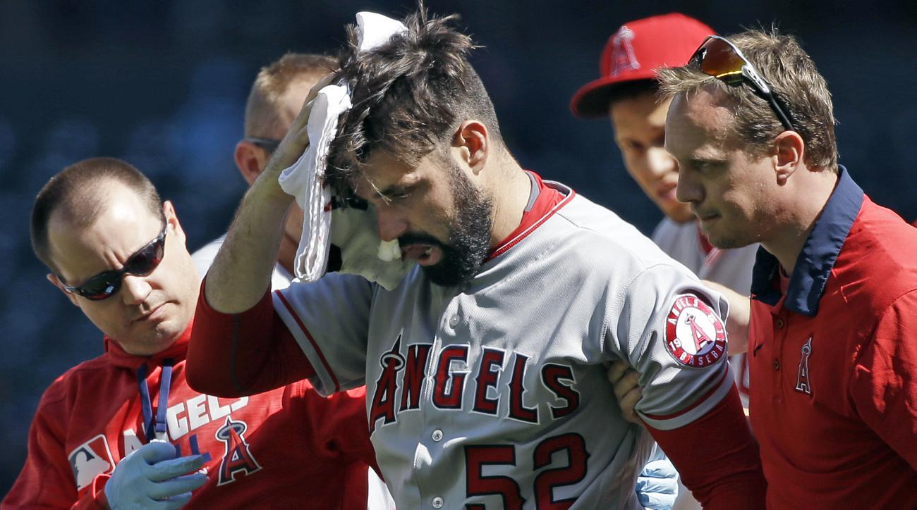 matt shoemaker head injury line drive angels