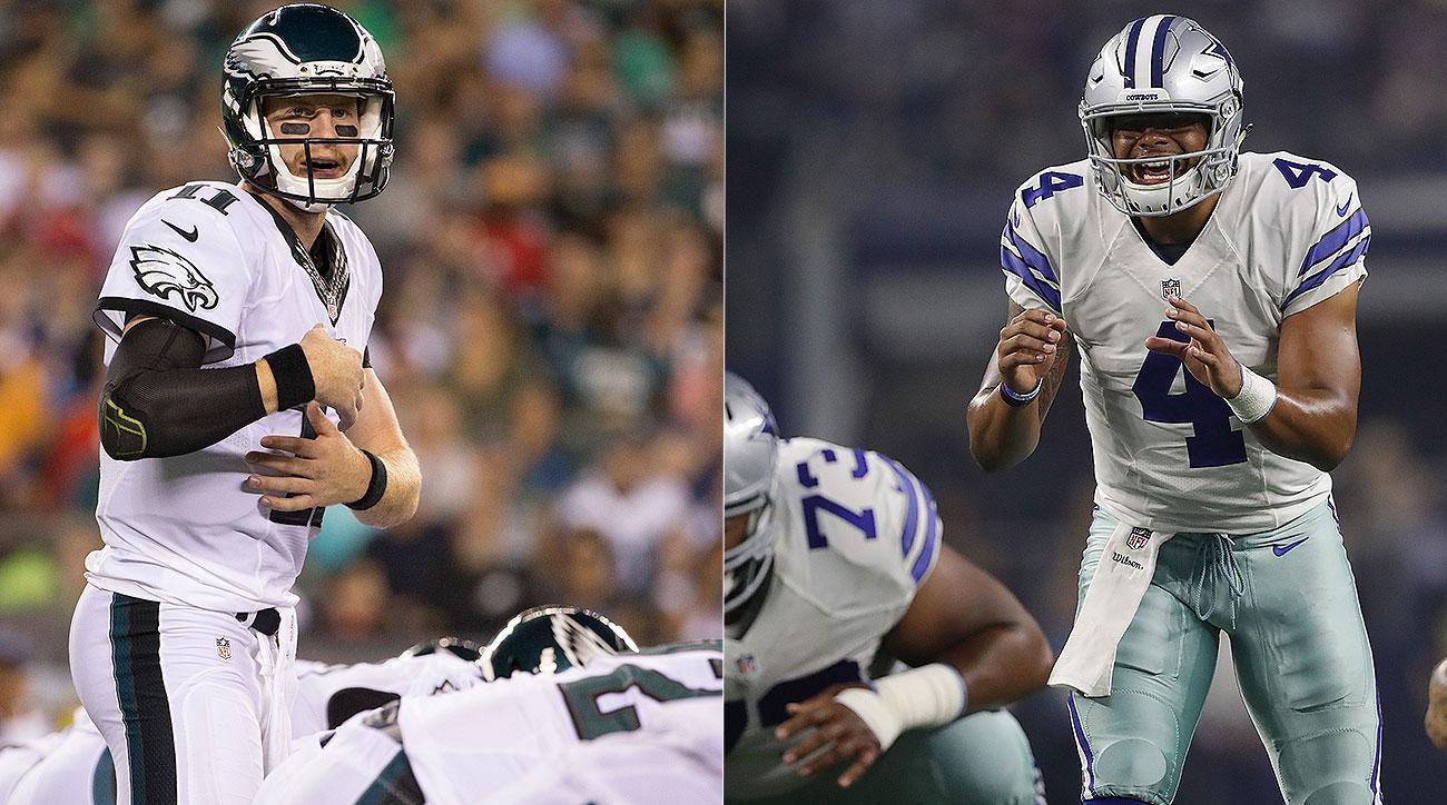 Carson Wentz, Dak Prescott start at QB for Philadelphia Eagles, Dallas Cowboys