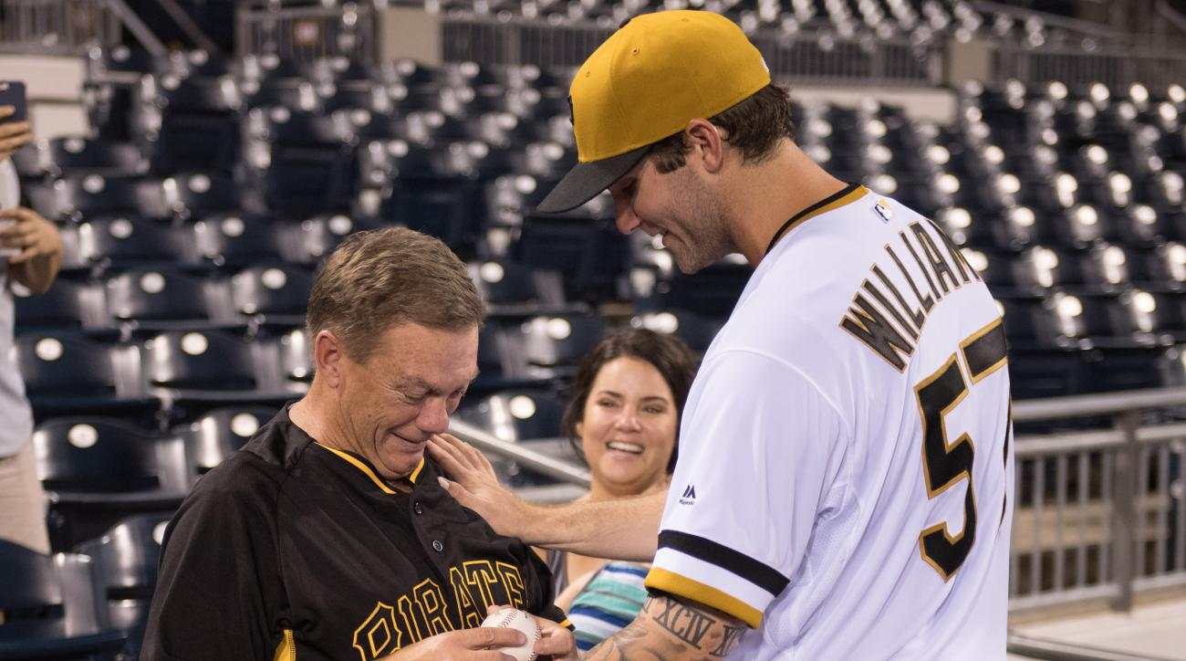 pirates trevor williams mlb debut dad cry video